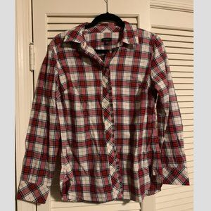 Talbots Red and White Plaid Button Up